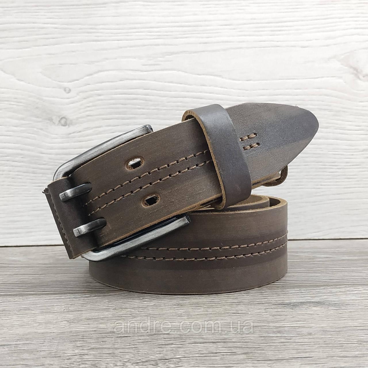 Ремень кожаный 4 см светло-коричневый