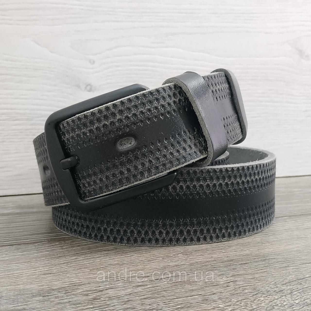 Ремень кожаный 4 см черный с потертостями