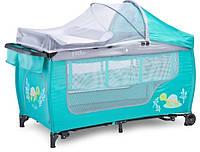 Детский манеж Caretero Grande Plus Детская кроватка (Бирюзовый)