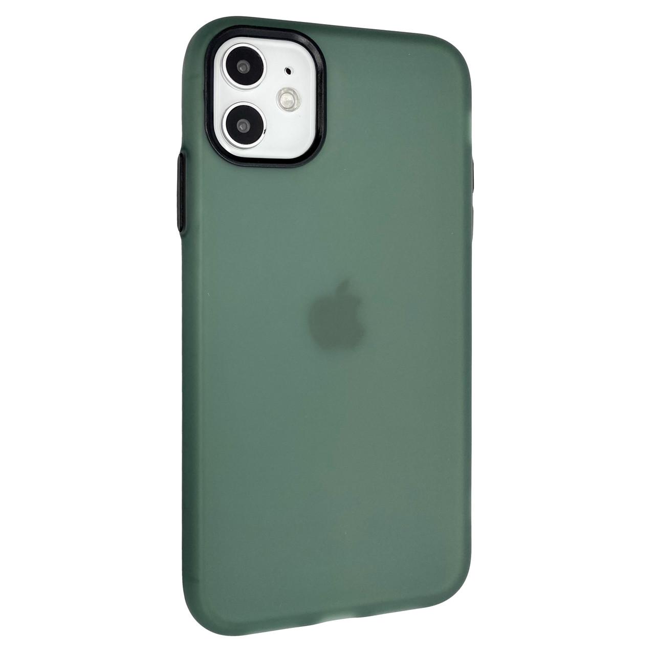 Чехол-накладка DK Silicone Matting Silk для Apple iPhone 11 (green / black)