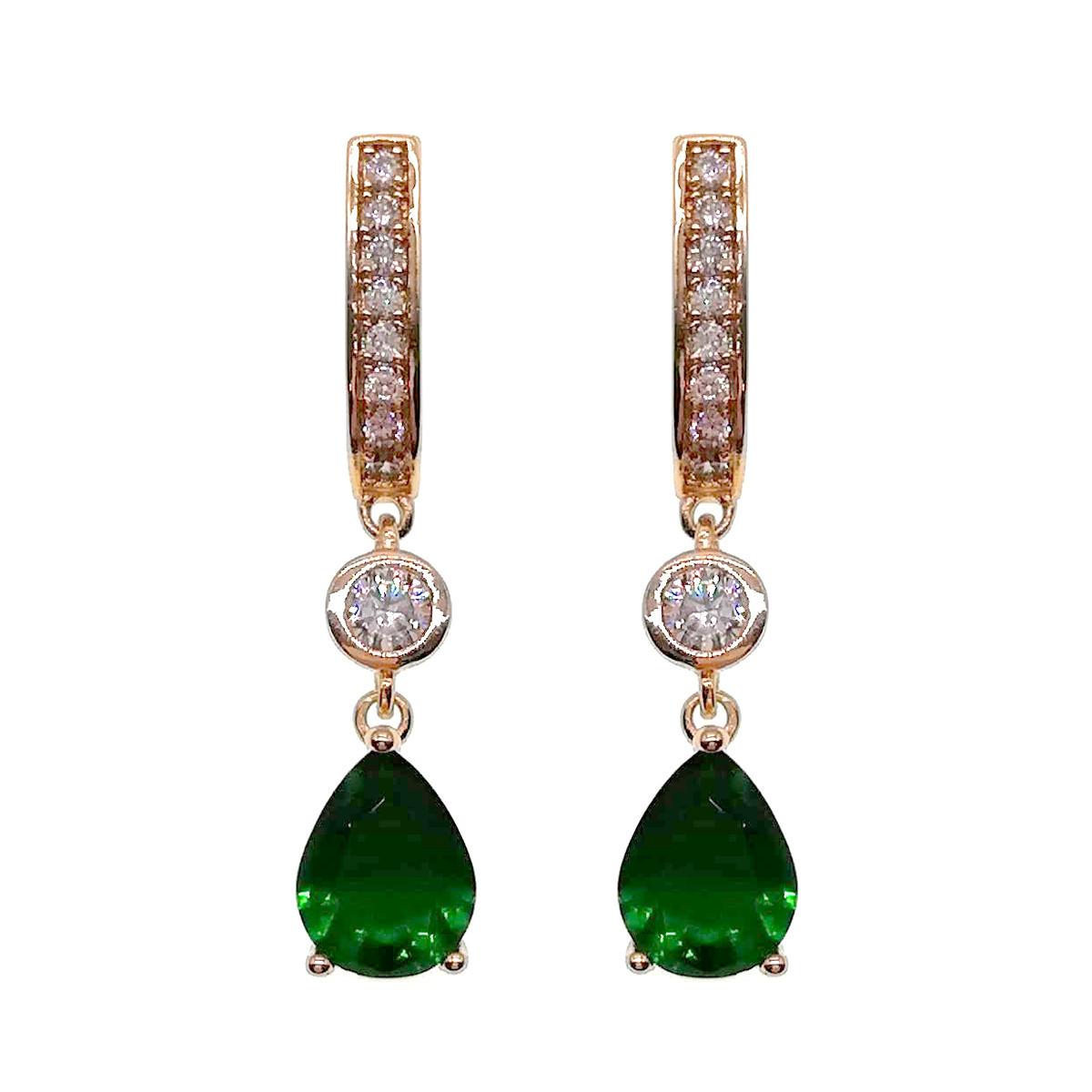 Серьги Xuping из медицинского золота, зеленые фианиты, позолота 18K, 23829       (1)