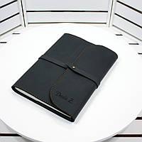 Кожаный блокнот M. Софт-бук из натуральной кожи с лазерной гравировкой инициалов (имени).