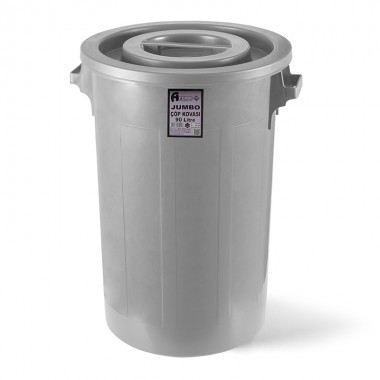 Мусорный бак industrial с круглой крышкой серый пластик 90л jck 101