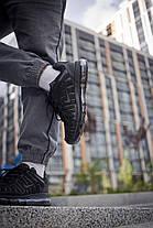 Кросівки чоловічі Найк Аір Макс Shox Black з тонкими прогумованими вставками Репліка, фото 3