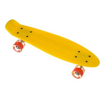 Пенни борд Penny Board 23 со светящимися колесами   Желтый