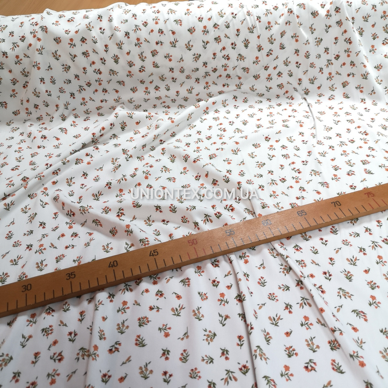 Ткань штапель плотный принт мелкие цветочки