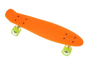 Пенни борд Penny Board 23 со светящимися колесами   Оранжевый