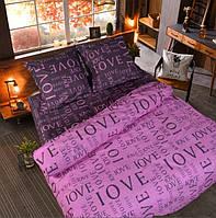 Постель Love. Размер Евро / цвет розовый. Комплект постельного белья. Ткань Бязь, коттон. Голд: 100% Хлопок