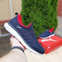Дышащие мужские кроссовки на лето тапки   из сетки без шнуровки синие с красным