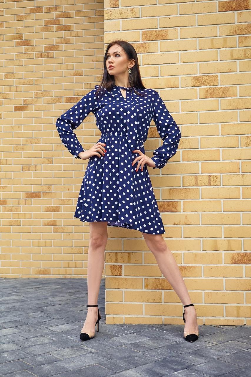 Платье в горошек темно-синее