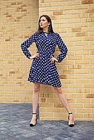 Платье в горошек темно-синее, фото 1