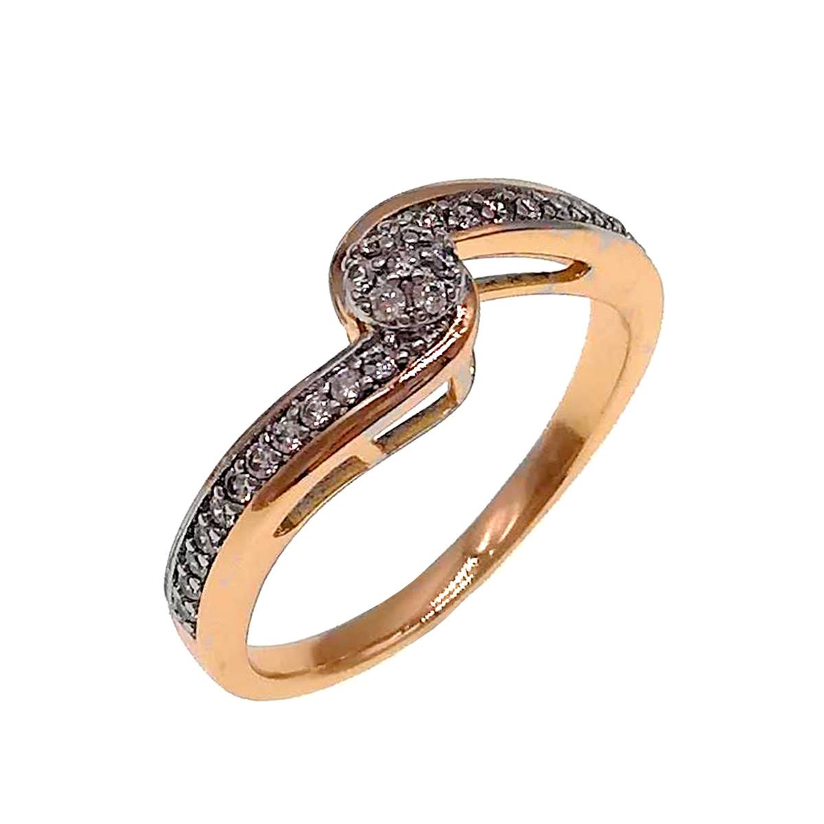 Кольцо Xuping из медицинского золота, белые фианиты, позолота 18K + родий, 11889       (20)