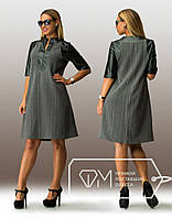 Батальное женское платье с короткими рукавами и черным воротником