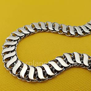 Двусторонний мужской серебряный браслет с накладками (ширина 8мм). Длина 20 см