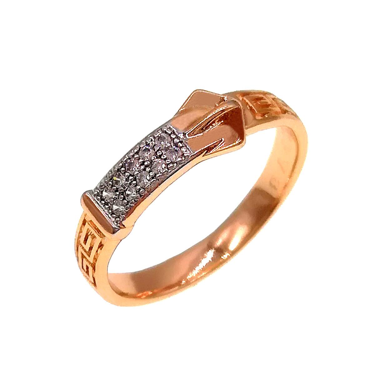 Кольцо Xuping из медицинского золота, белые фианиты, позолота 18K + родий, 11888       (21)