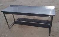 Стол производственный 1600х600х850 с бортом, из нержавеющей стали