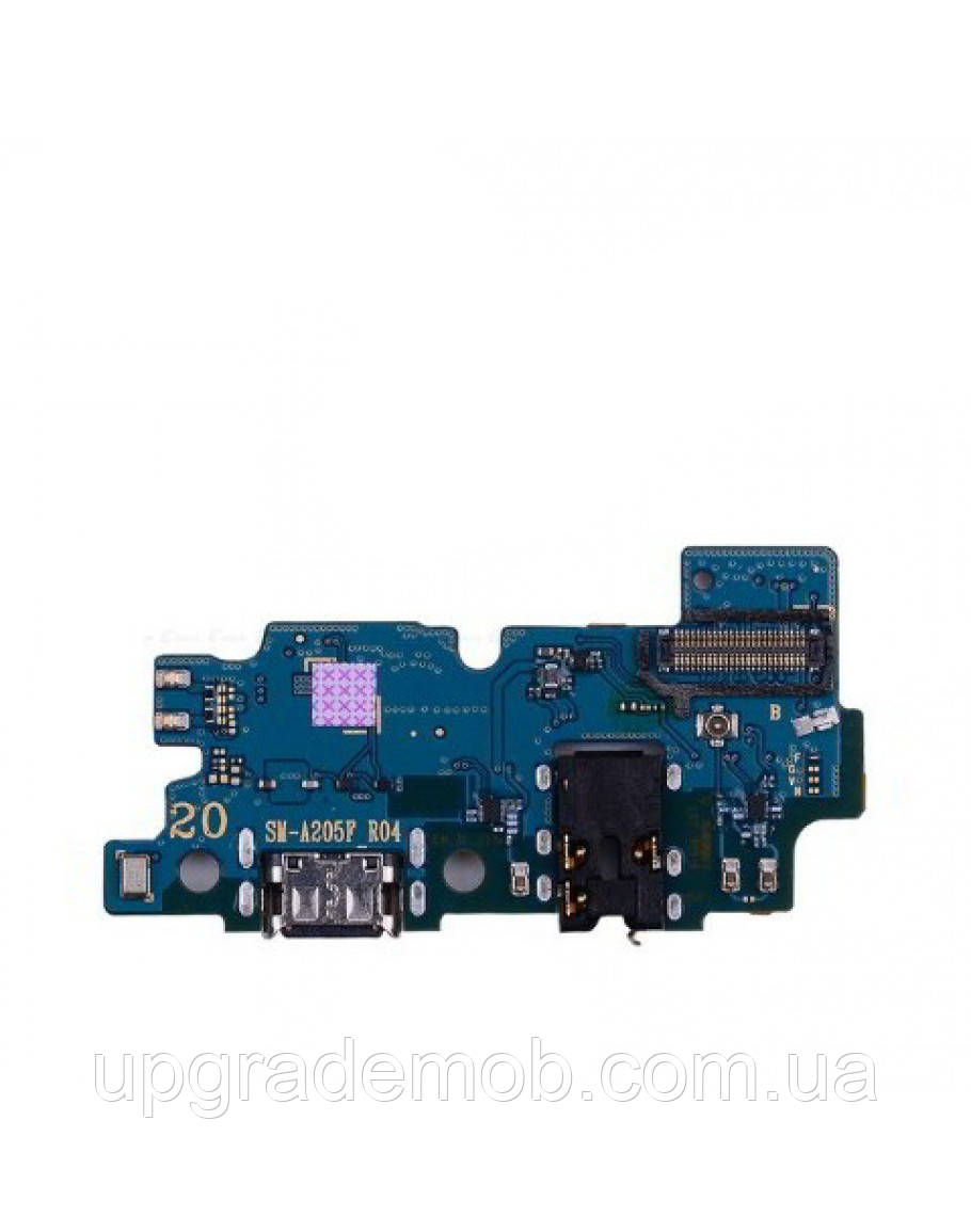 Шлейф Samsung A205F Galaxy A20 2019, с разъемом зарядки, с разъемом наушников, с микрофоном, с микросхемой,