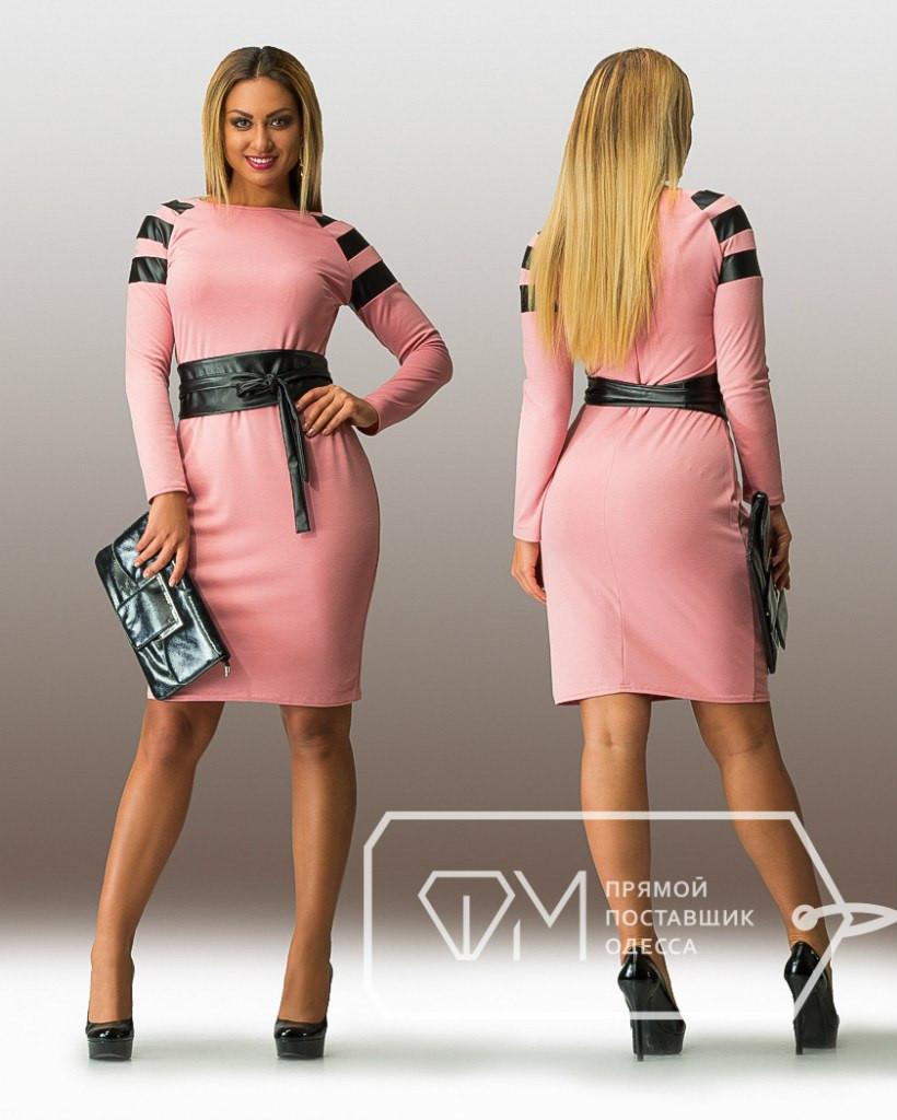 Батальное женское платье со вставками эко-кожи
