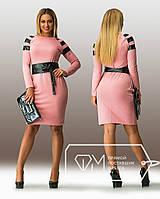 Батальное женское платье со вставками эко-кожи , фото 1