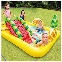 Детский надувной бассейн с горкой Intex 57158 Веселые Фрукты, фото 1