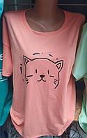 Милая батальная женская футболка с принтом котика с круглой горловиной