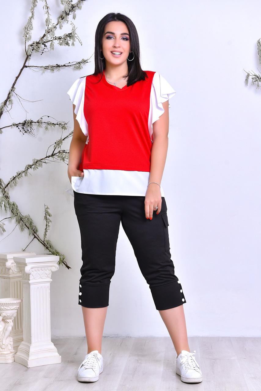 Костюм комбинированный полу-батал х/б красный с чёрным лето спорт Турция