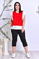 Костюм комбинированный полу-батал х/б красный с чёрным лето спорт Турция, фото 1