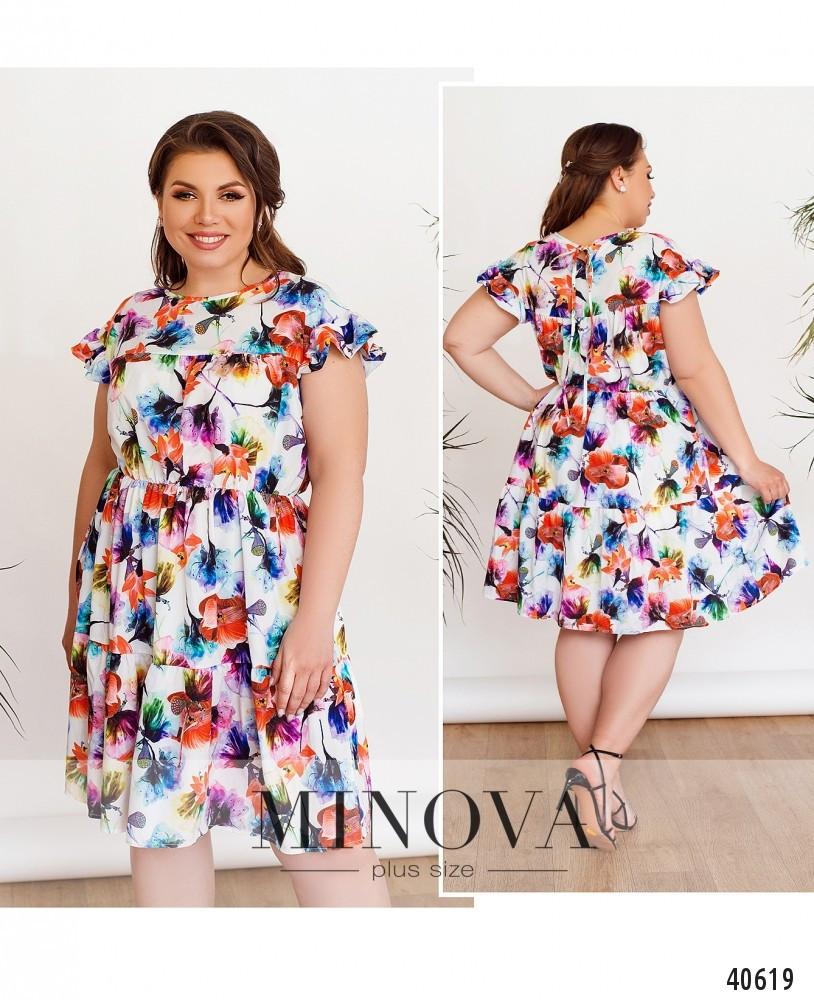 Яркое, нарядное и женственное платье батал с цветочным принтом размер 50,52,54,56