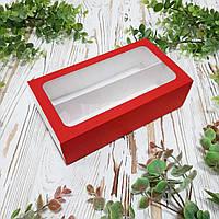 Коробка для макарун з червоним футляром 200х110х55 мм.