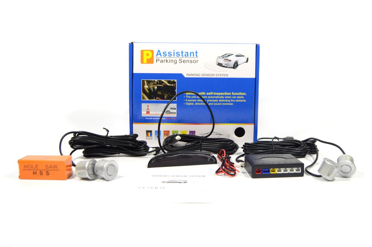 Парктроник на 4 датчика + дисплей Assistant Parking (парковочный радар, парковочная система) (серый)