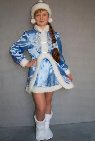 Новогодний карнавальный костюм Снегурочка для девочек 9-10 лет