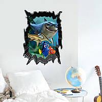 """Детская интерьерная виниловая наклейка """"Рыбка, акула Немо (Nemo)"""""""