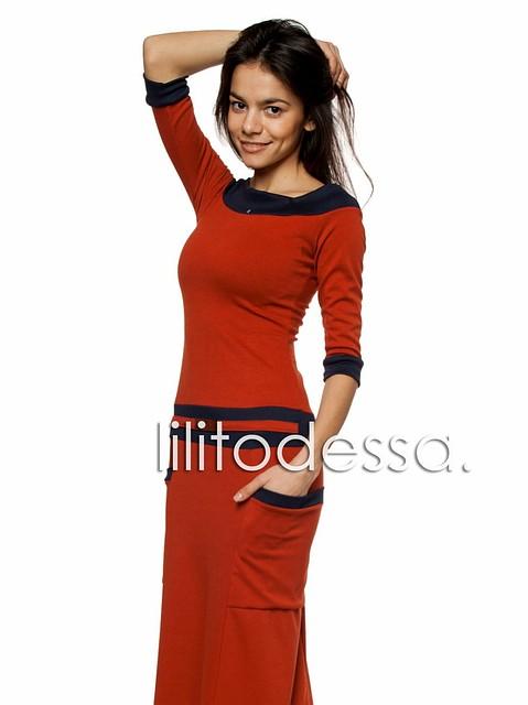 Платье макси терракота