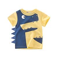 Модная футболка для мальчика с динозавром желтая