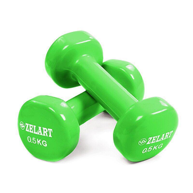 Гантели для фитнеса с виниловым покрытием Zelart Beauty TA-5225-0,5 (2x0,5кг) салатовые