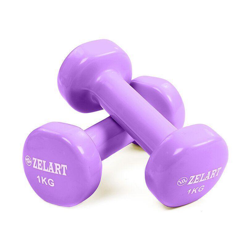 Гантели для фитнеса с виниловым покрытием Zelart Beauty TA-5225-1 (2x1кг) (2шт, сирень)