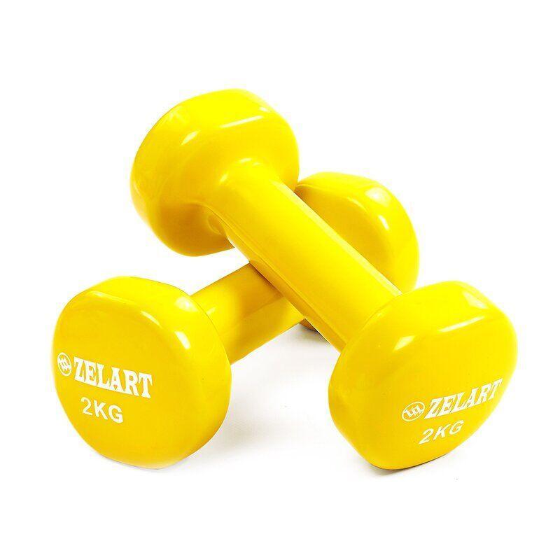 Гантели для фитнеса с виниловым покрытием Zelart Beauty TA-5225-2 (2x2кг), желтые