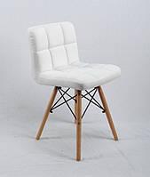 Обеденный мягкий стул Флекс FLEX ЭК белая экокожа с ножками из бука