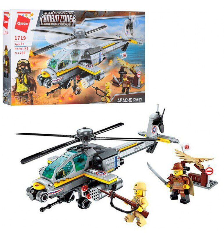 Конструктор Qman Военный вертолет Brick 1719 280 деталей