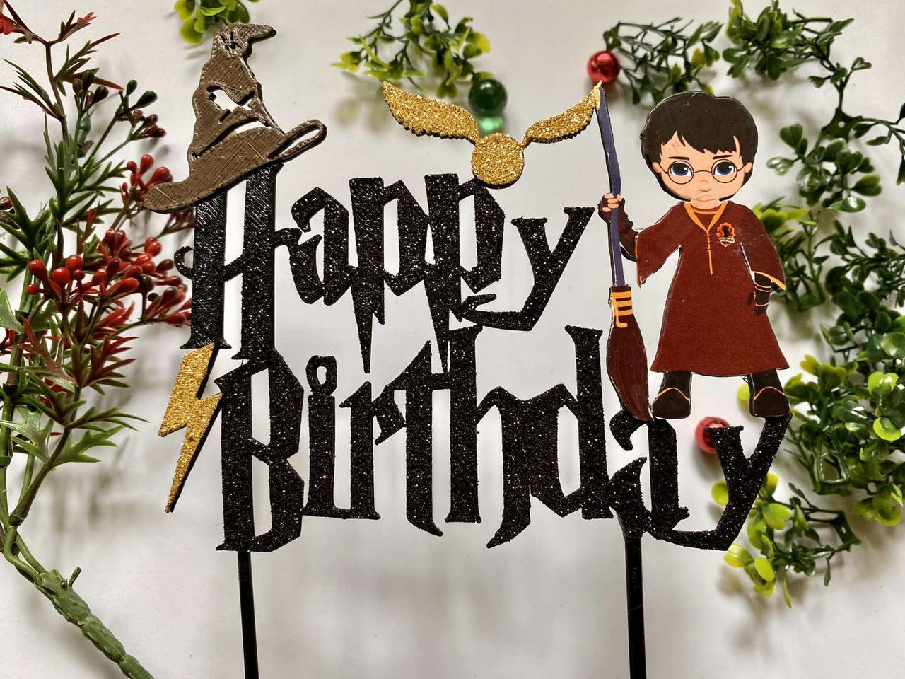 Топпер Гаррі Поттер, Топпер Harry Potter, Топпер Happy Birthday з принтом Гаррі Поттер