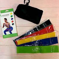 Резинки для фитнеса LATEX BAND йоги пилатеса Lpowex 5 штук в комплекте. Разноцветные