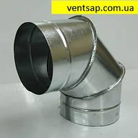Отвод 90* диаметр 125 мм. вентиляционный, круглый, оцинковка 0,5 мм