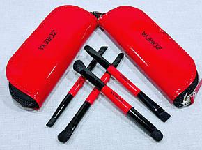 РАСПРОДАЖА!!! Набор кистей для макияжа ZOREYA 4 штуки в кошельке красные