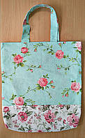 """Женская тканевая сумка с карманом на плечо """"Пион+Роза"""""""