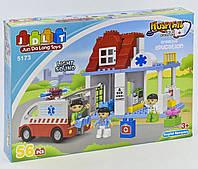 Конструктор для детей JDLT Hospital 5173 Скорая помощь 56 эл. крупные детали, свет, звук