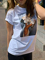 Женская футболка. Печать на футболке, девушка с пионами