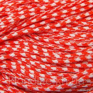 Паракорд для плетения браслетов, Полиэстер, 2 мм, Цвет: Оранжево-красный (5 метров)