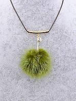 Колье с зеленым меховым шариком 037093