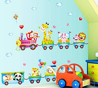 """Детская интерьерная виниловая наклейка на стену """"Паровозик с животными"""" (XY1125)"""
