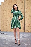 Платье из штапеля в горошек цвет хаки, фото 1